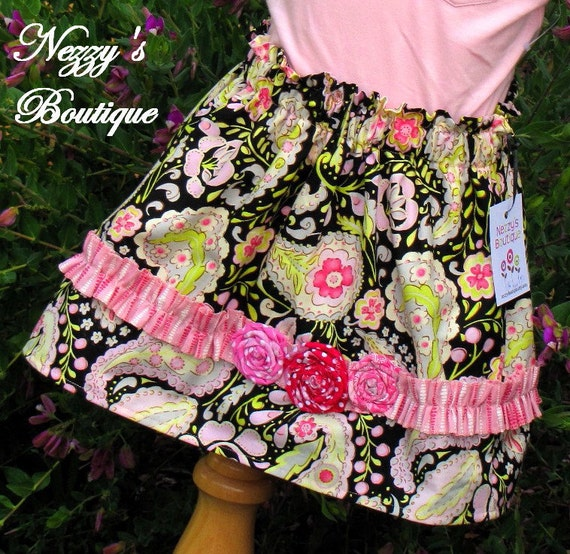 50% Off SALE - Paisley and Roses Skirt, Size 3T - Nezzy's Boutique