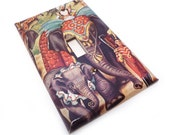 Circus elephant switch plate - vintage print light switch cover
