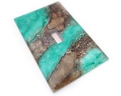 Chocolate Mint Light Switch cover - marbled switch plate in brown and green