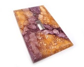 Purple and orange Light switch plate - light switch cover in eggplant and butterscotch