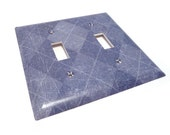 Blue argyle Light switch cover - decorative double switch cover in denim argyle