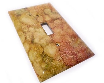 Pink and green Light switch cover - decorative switch plate in olive and rose