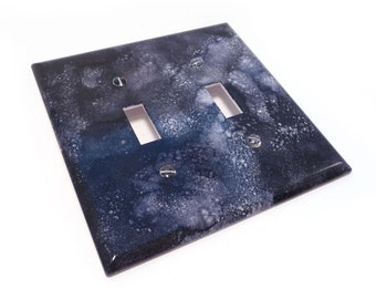 Black light switch cover - faux marble switch plate in black