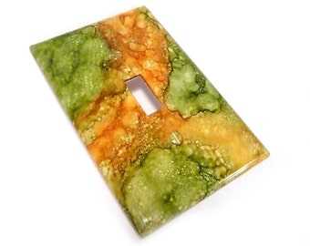 Light switch cover, green and gold decorative light switch plate