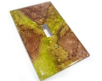 Light switch cover, green and brown marbled switch plate