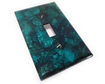 Deep teal light switch cover - faux marble switch plate