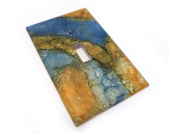 Blue and yellow Light Switch cover - marbled switch plate