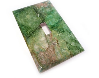 Green and Pink light switch plate cover - faux marble