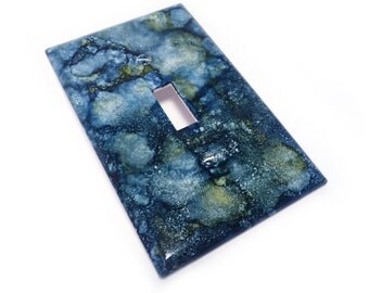 Blue and green light switch plate cover - faux marble