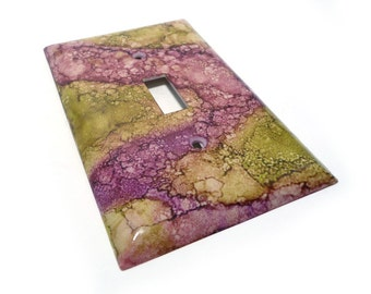 Lime green and purple light switch cover - handmade switch plate