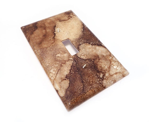 Brown marbled light switch cover