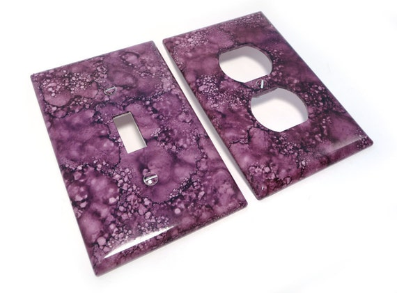 Purple switch cover with outlet cover- light switch plate in purple faux marble