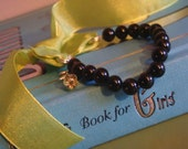 Black Bead and Bow Bracelet
