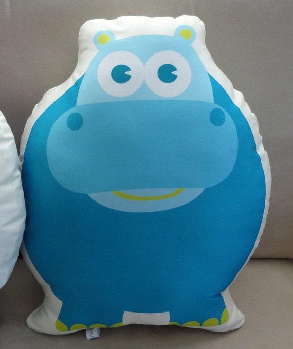 Extra Large Organic Hippo Pillow, blue aqua plush