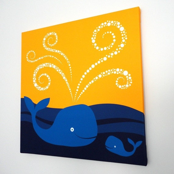 Items similar to swimming whales fabric canvas wall art for Modern kids fabric