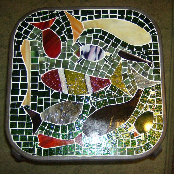 Stained Glass Mosaic Decorative Accent Table End Table Coffee Table Home Decor Furniture