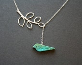 Bird necklace, turquoise bird with leaf necklace, bird and leaf lariat, mothers day gifts, birthday friendship, bird jewelry, new baby gift