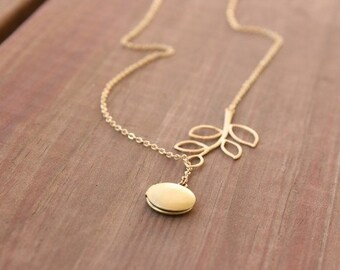 Gold locket necklace, leaf necklace, lariat style necklace - locket jewelry, leaf jewelry, wedding jewelry, bridal jewelry, branch