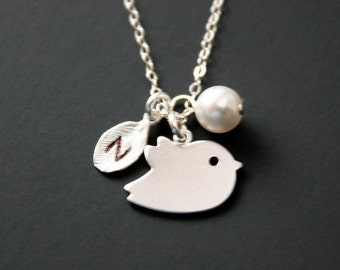 Bird necklace, initial necklace, sterling silver - leaf necklace, monogram initial, family necklace, friendship, mother, bird jewelry