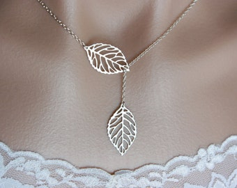 Lariat leaf necklace, sterling silver chain, white gold plated leaves - wedding jewelry, adjustable dainty everyday jewelry