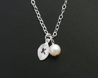 Initial necklace, leaf necklace, freshwater pearl necklace, sterling silver - bridesmaids gift, birthday, friendship, daughter,monogram gift