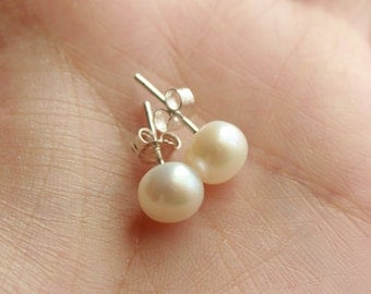 White pearl earrings in sterling silver - wedding jewelry, bridesmaids gifts, simple everyday wear jewelry
