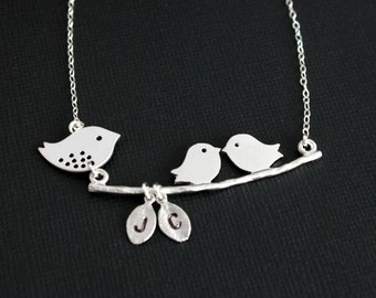 Bird initial necklace, mama and baby bird necklace, sterling silver - family, friendship, birthday, baby shower, mother