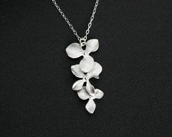 Orchid necklace, silver orchid jewelry, wedding jewelry, bridesmaids gift, bridal jewelry, wedding necklace, flower everyday wear