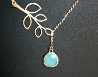 Blue glass leaf necklace, gold lariat necklace, glass stone in bezel - wedding jewelry, bridesmaids gifts, branch necklace, blue jewelry