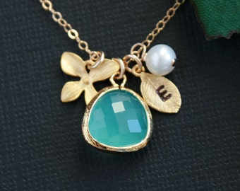 Personalized initial necklace, blue glass stone in bezel, pearl, orchid, initial leaf necklace, gold filled - wedding jewelry, birthday, mom