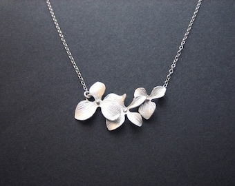 Orchid necklace, bridesmaid gifts, flower necklace