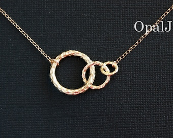 Three Circle Link Necklace , 14K Gold Filled Karma Necklace , Family Link , Best Friends Forever , Available Gold & Silver