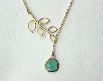 Blue Stone Y Necklace , Lariat Gold Necklace , Leaf Necklace , Fall Wedding , Bridal Jewelry , Bridesmaids Necklace