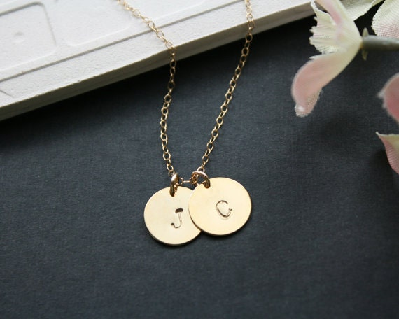 Two discs initial necklace, gold - personalized initial charm necklace, dainty gold necklace, family necklace, couple, friendship