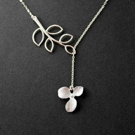 Orchid necklace, lariat leaf necklace, sterling silver, bridesmaids gifts, wedding jewelry, bridal shower, birthday gifts