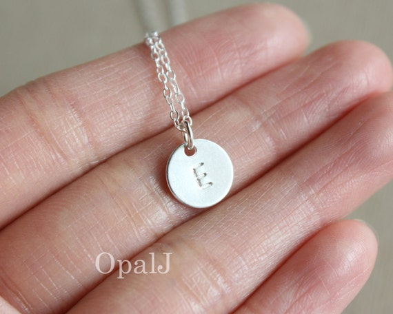 initial necklace initial coin disc necklace personalize. Black Bedroom Furniture Sets. Home Design Ideas