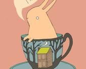 Tea Time Bunny Print