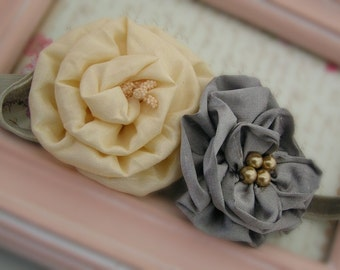 Flower Girl Headband, Baby Rosette Headband, Flower Headbands, Shabby Chic Headband, Couture Headbands, Holiday Headbands, NO.341