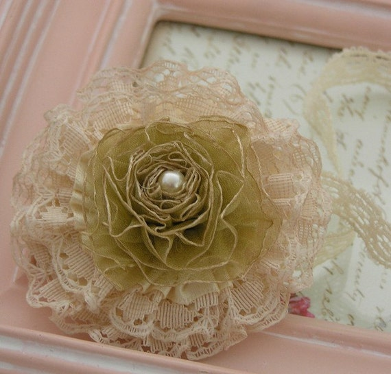 Vintage Inspired Headband Lace and Organza Bloom with Pearl Center on a Soft Elastic Headband Flowers Blooms Baby Headbands ITEM NO.254
