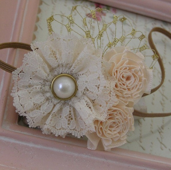 Baby Headband Vintage Inspired Headband Rosette Trio Couture