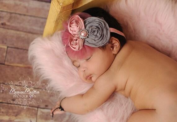 Baby Headbands: Vintage Inspired Headband Chiffon Rosette Toddler Teen Baby Headbands  Photo Prop NO.12-31