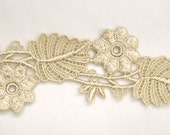 Incredible Venice Lace Flower Vine Leaf Trim Golden Hand Dyed- Half Yard