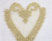 Venice Lace Applique Heart with Netting Golden Hand Dyed Motif