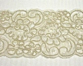 Beautiful Alencon Lace Hand Dyed Ivory Bridal Crazy Quilting Altered Couture