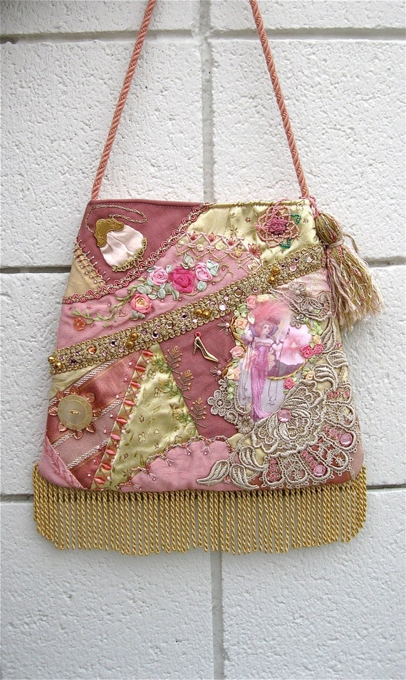 Handbag Crazy Quilt Pink Purse Embroidery Beads Lace Hand Made STUNNING