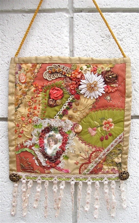 Crazy Quilt Wall Hanging Small Victorian Theme Embroidered