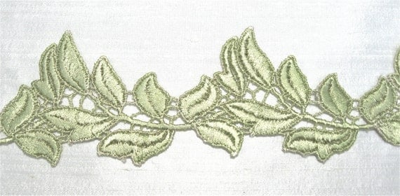 Venice Lace Leaves Trim Golden Colorwashed Green  Half Yard