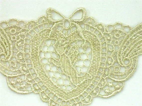 Venice Lace Cupid in Heart Applique Hand Dyed Valentine Motif