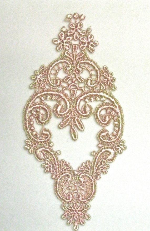 Venice Lace Applique, Ornate Gold and Pink Colorwash Motif