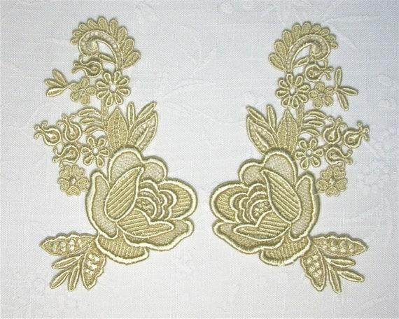 Venice Lace Applique Pair Rose Venise Motif Golden Great for Crazy Quilting